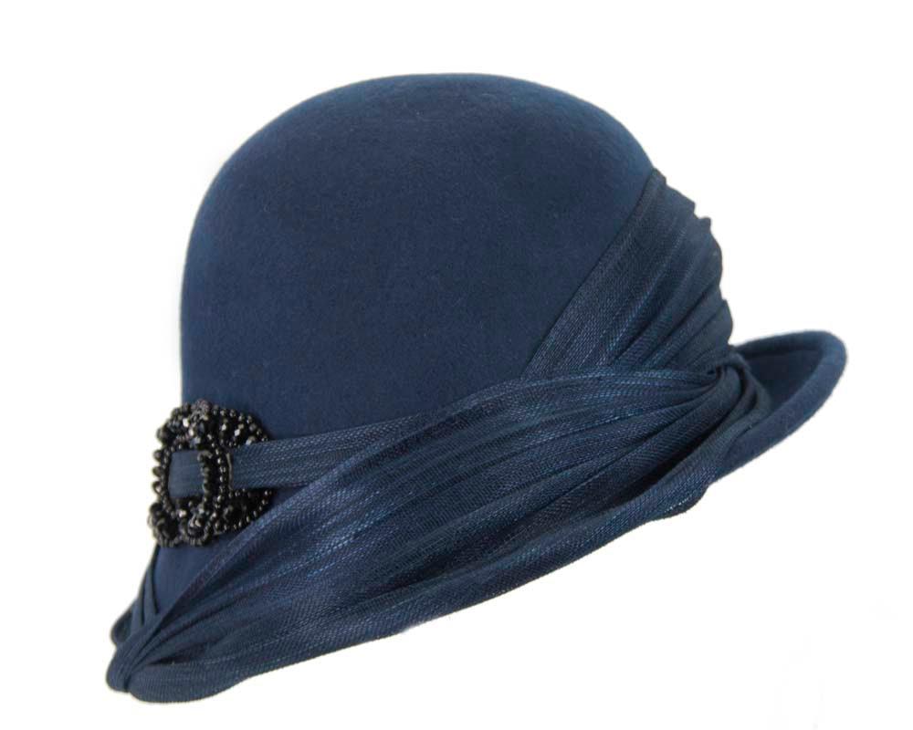 Navy felt draped cloche hat