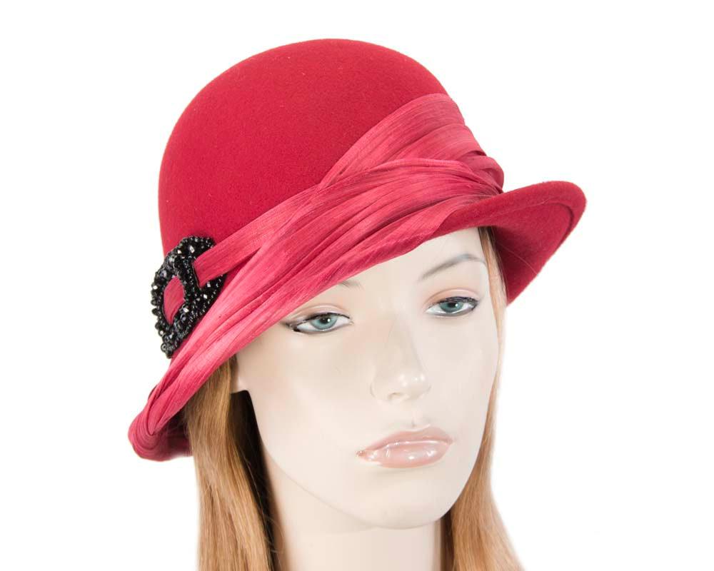 Red felt draped cloche hat
