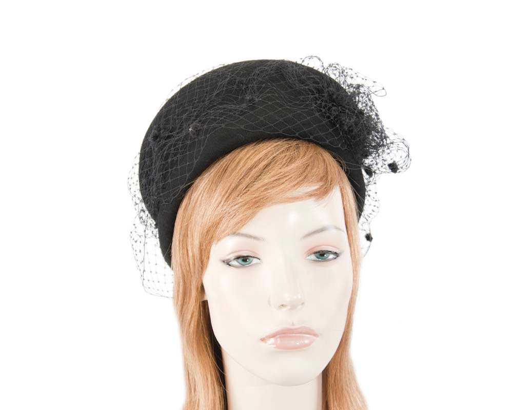Large black felt beret hat