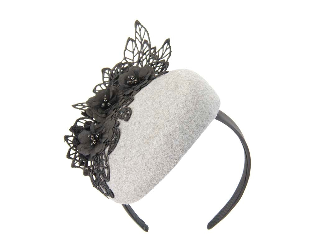 Silver & black winter pillbox with lace