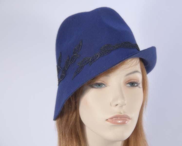 Navy fedora felt fashion hat buy online in Australia J272N