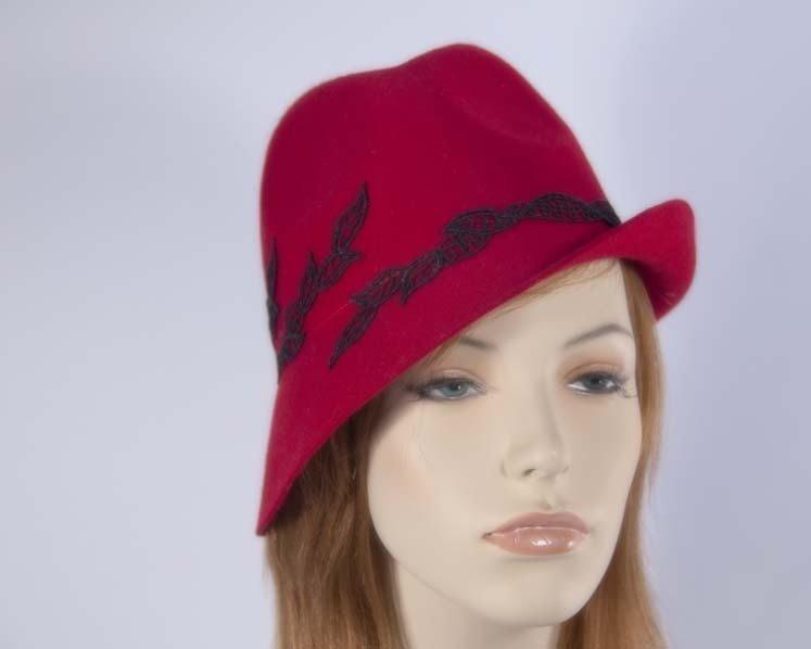 Red fedora felt fashion hat buy online in Australia J272R