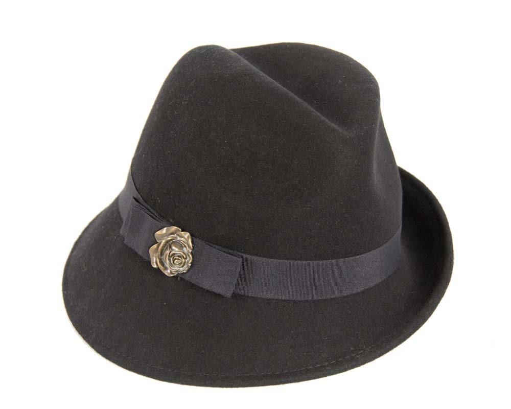Black trilby felt fashion hat buy online in Australia J273B