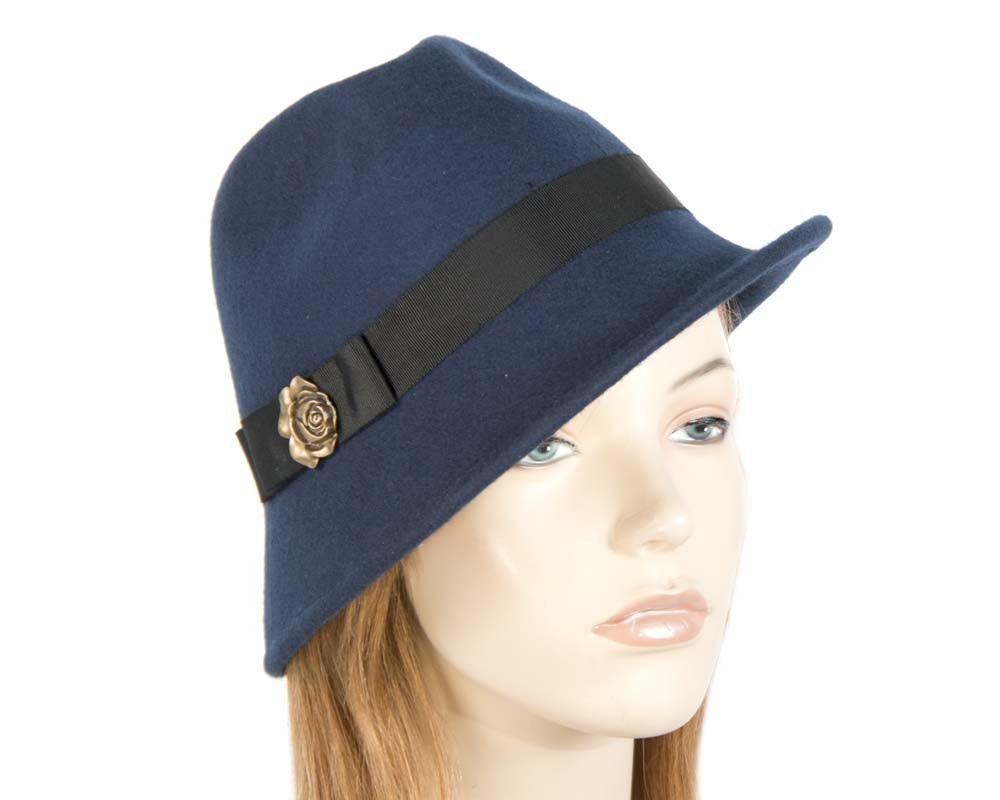 Navy trilby felt fashion hat buy online in Australia J273N