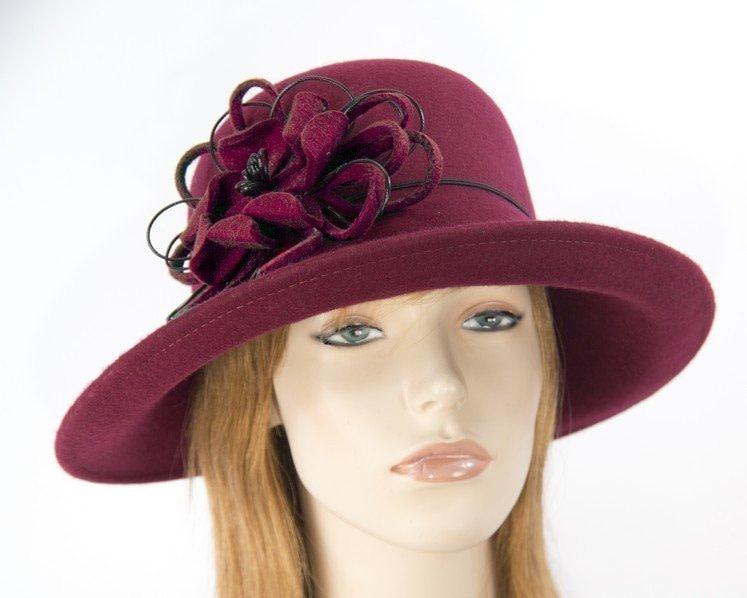 Burgundy felt ladies fashion hat by Max Alexander