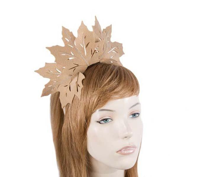 Beige laser cut maple leafs on headband