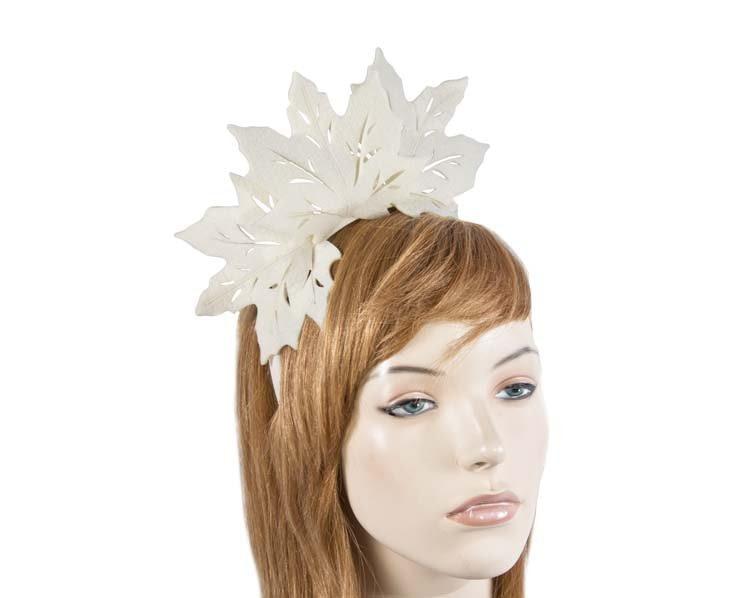 Cream laser cut maple leafs on headband