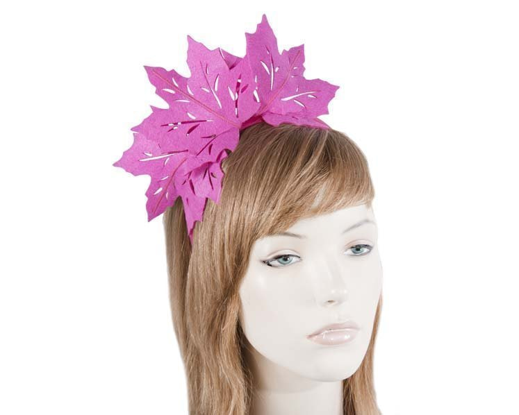 Fuchsia laser cut maple leafs on headband