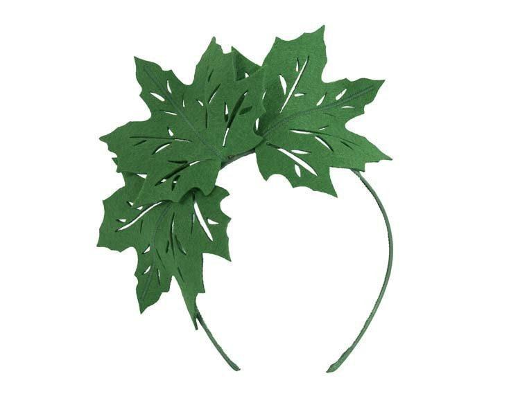 Green laser cut maple leafs on headband