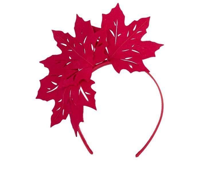 Red laser cut maple leafs on headband