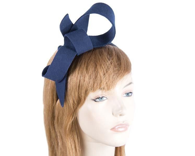 Navy felt bow fascinator