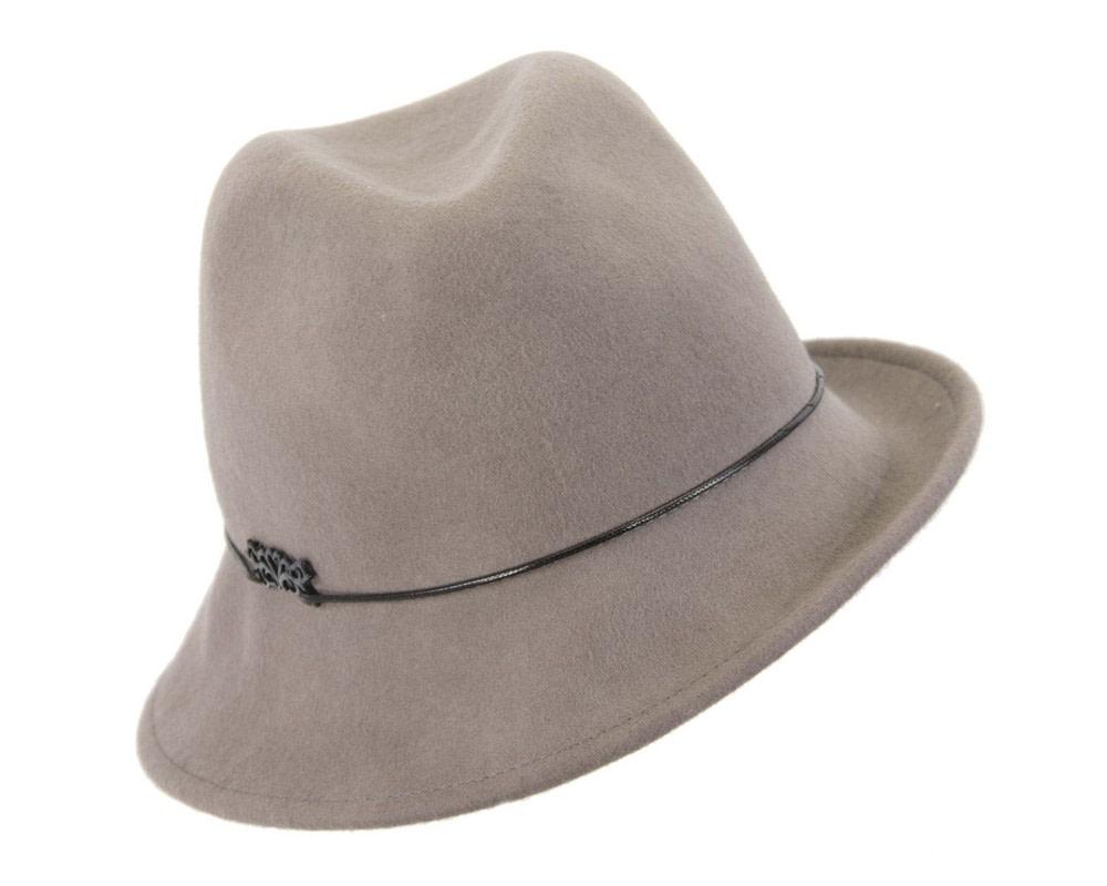 Grey felt ladeis winter fedora hat