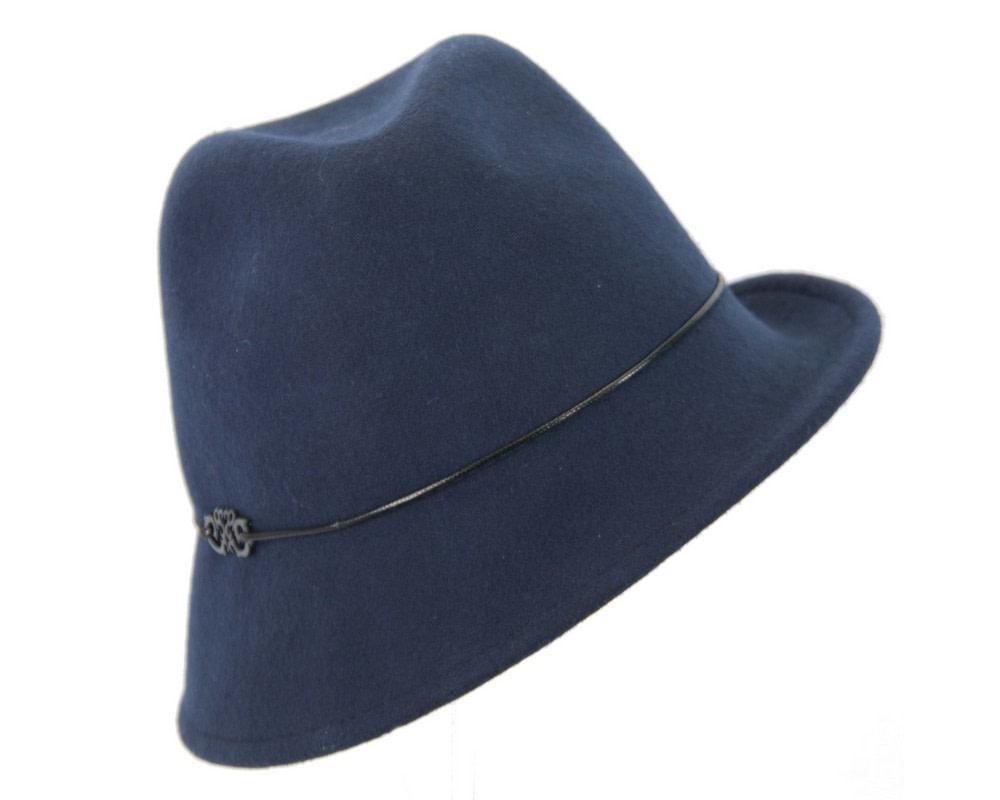 Navy felt ladeis winter fedora hat