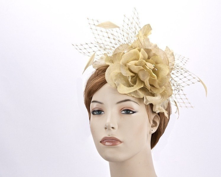 Gold fascinator Headpiece for Melbourne cup races online K4810G