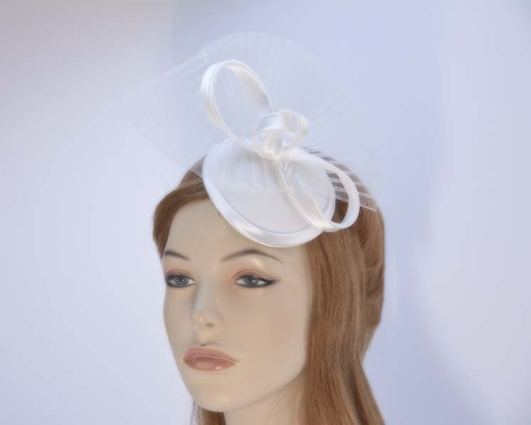 Custom made white fascinator hat for special occassion