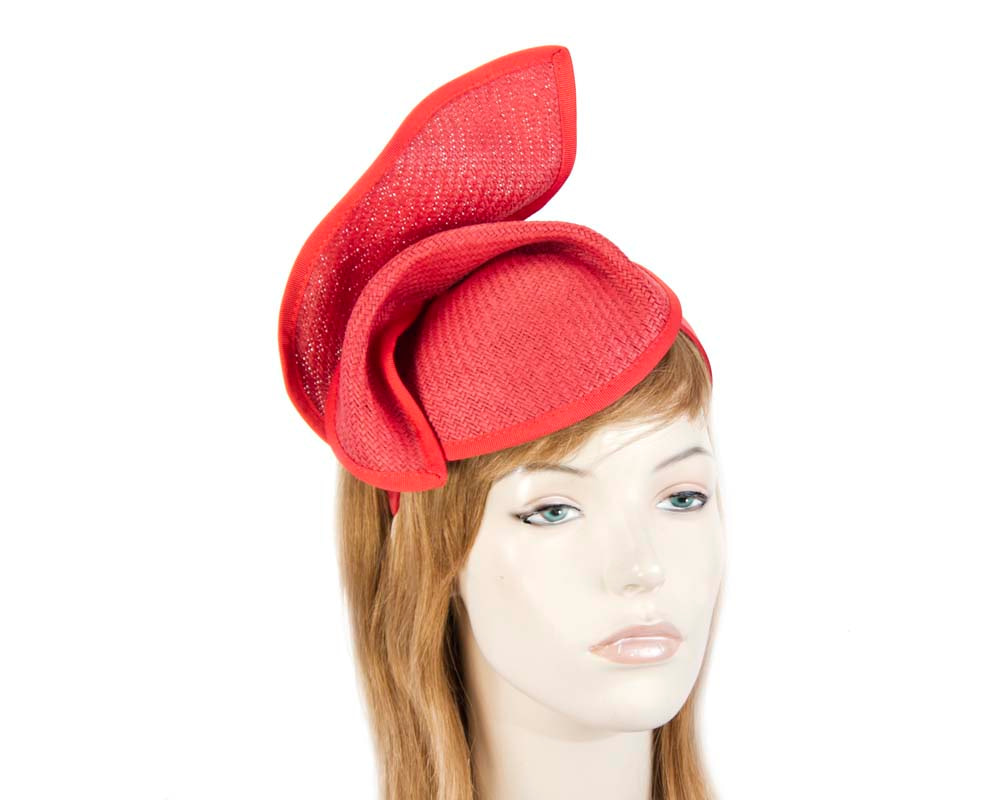 Red fashion pillbox fascinator hat for races Max Alexander MA564R