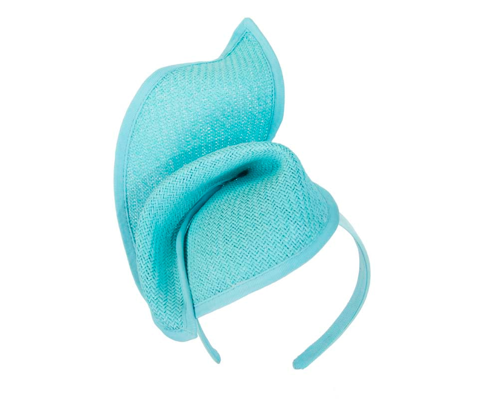 Turquoise fashion pillbox fascinator hat for races Max Alexander MA564T