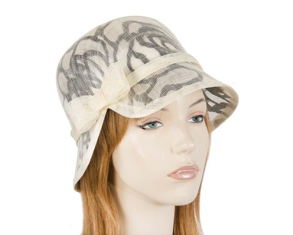 Unusual cream black cloche bucket hat for Melbourne Cup Ascot Derby buy online in Aus MA596CB