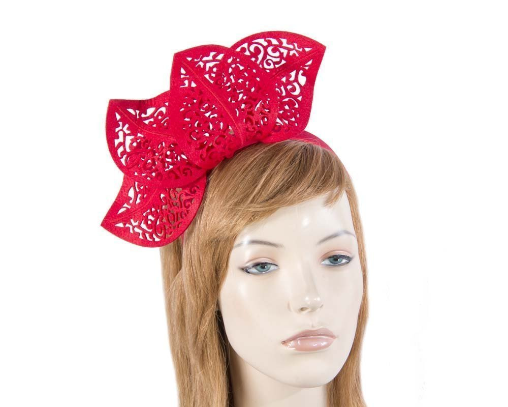 Red modern racing fascinator by Max Alexander MA681R