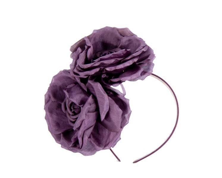 Wine purple flower headband fascinator