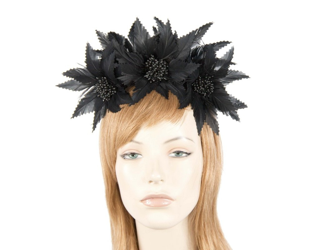 Black crown feather fascinator