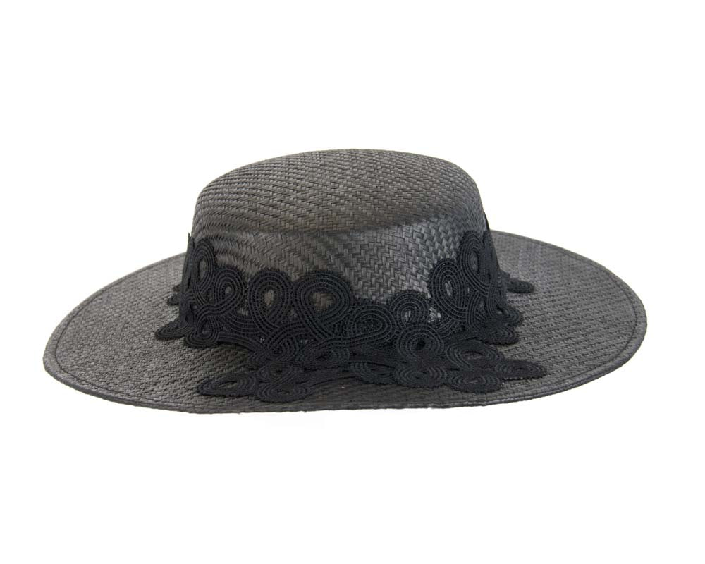 Black boater hat with lace