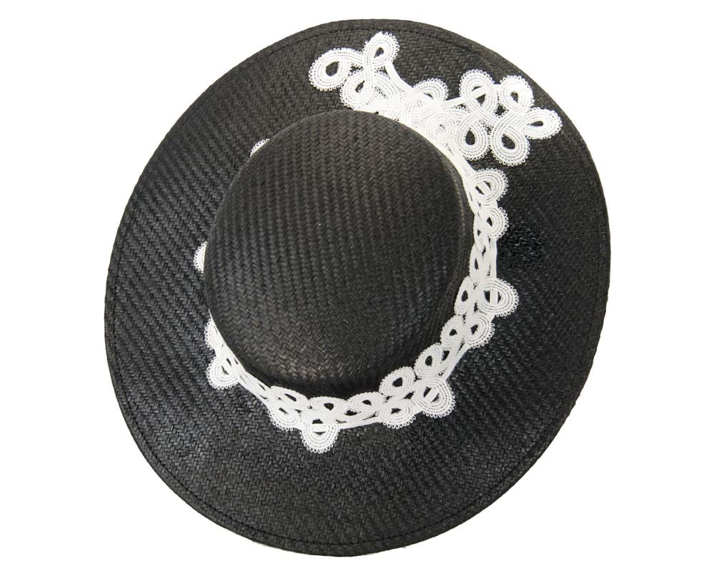 Black & White boater hat with lace