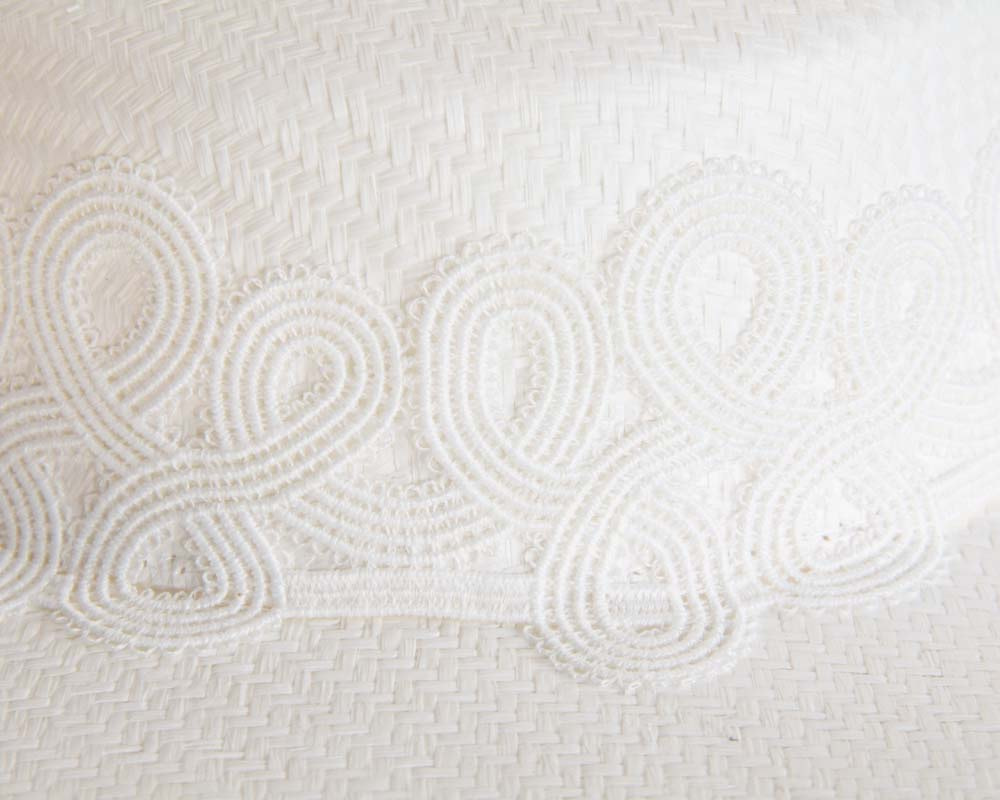 White boater hat with lace