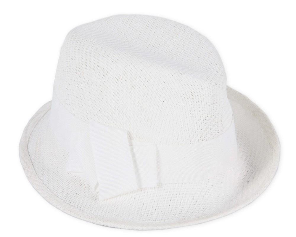 White trilby ladies hat