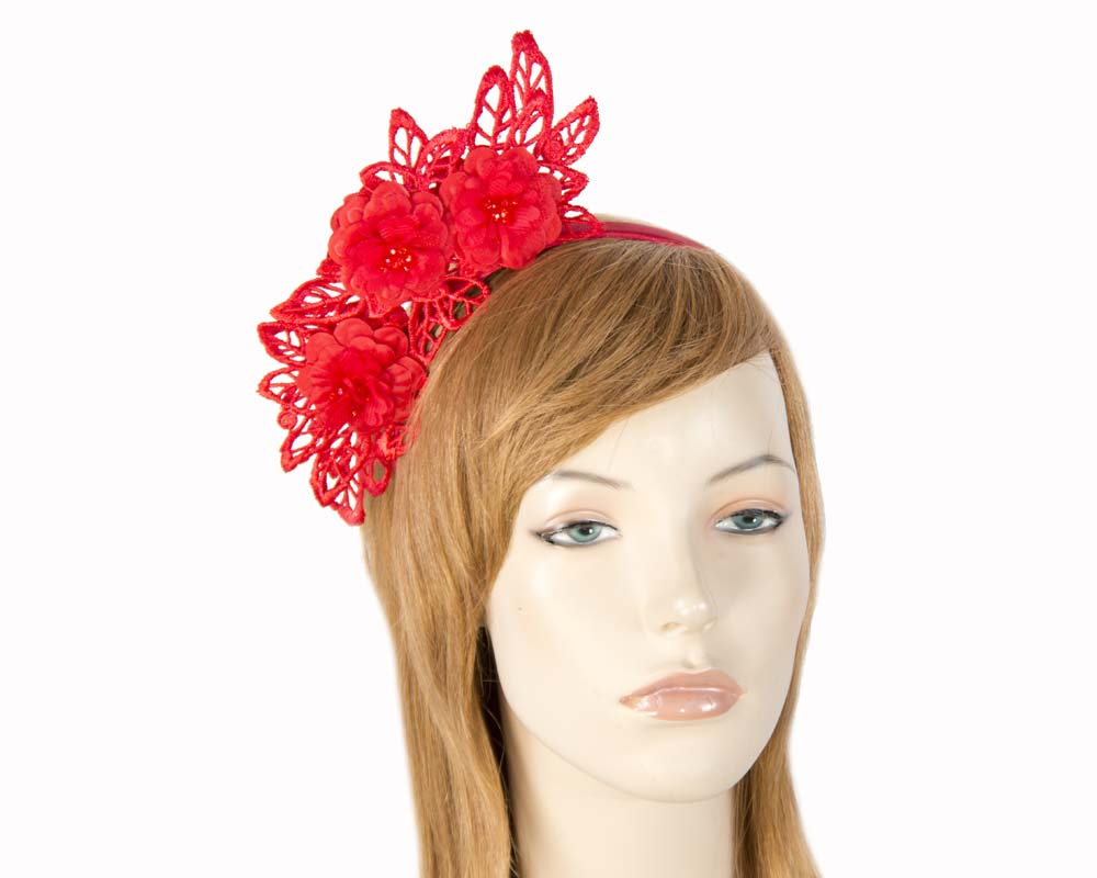Red lace fascinator