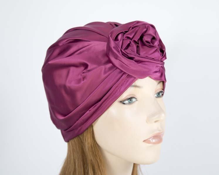 Burgundy turban by Max Alexander