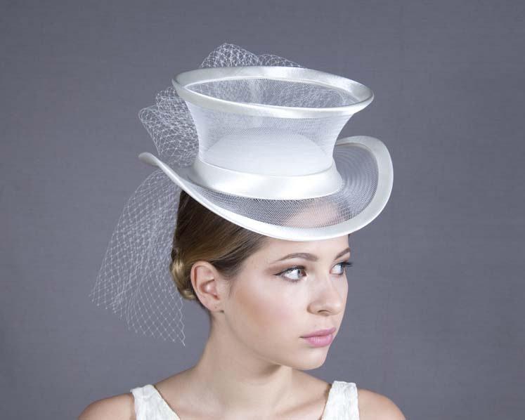 Cream custom made ladies top hat