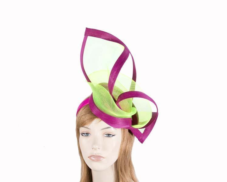 Fuchsia lime fascinator for Melbourne Cup Ascot Kentucky Derby buy online S107FL
