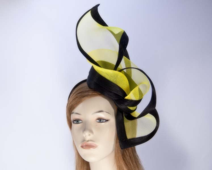 Yellow black fascinator for Melbourne Cup Ascot Kentucky Derby buy online S107YB