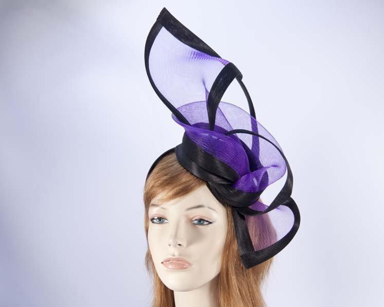 Purple black fascinator for Melbourne Cup Ascot Kentucky Derby buy online S107PB
