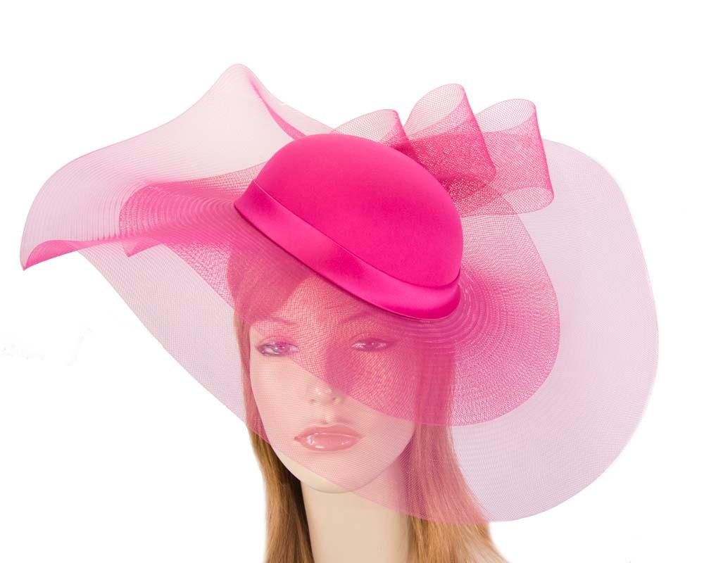 Fuchsia large brim custom made ladies hat