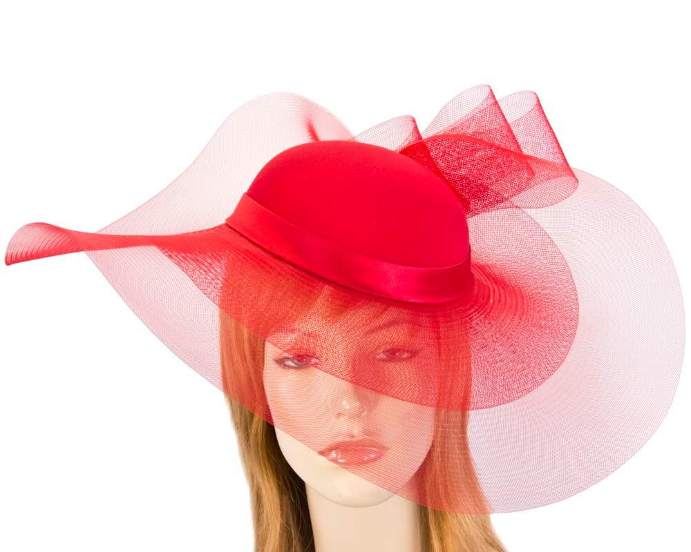 Red large brim custom made ladies hat