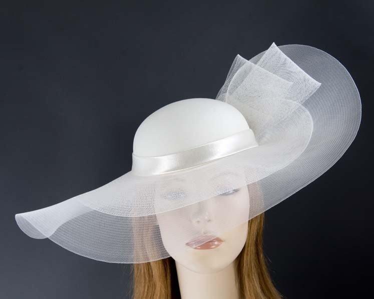 Cream large brim custom made ladies hat