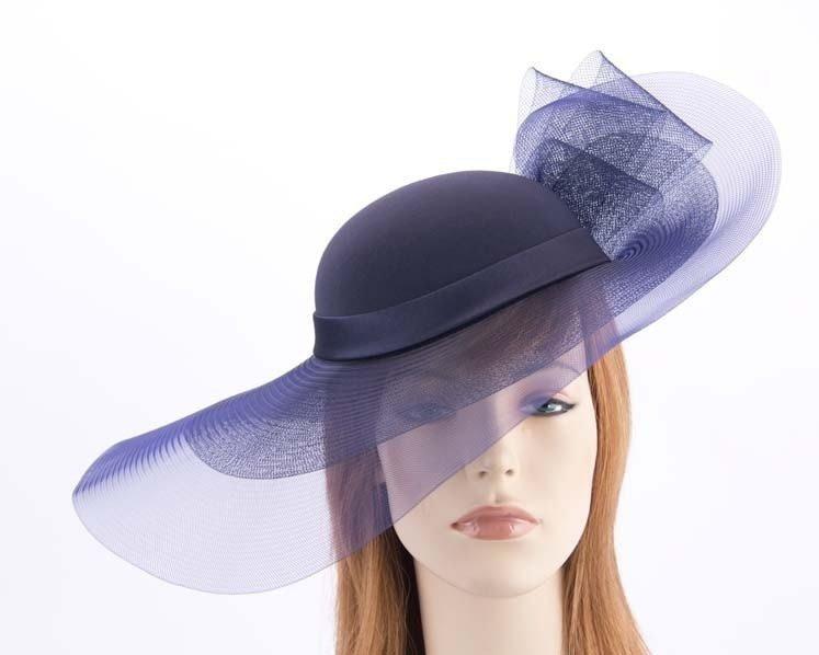 Navy large brim custom made ladies hat
