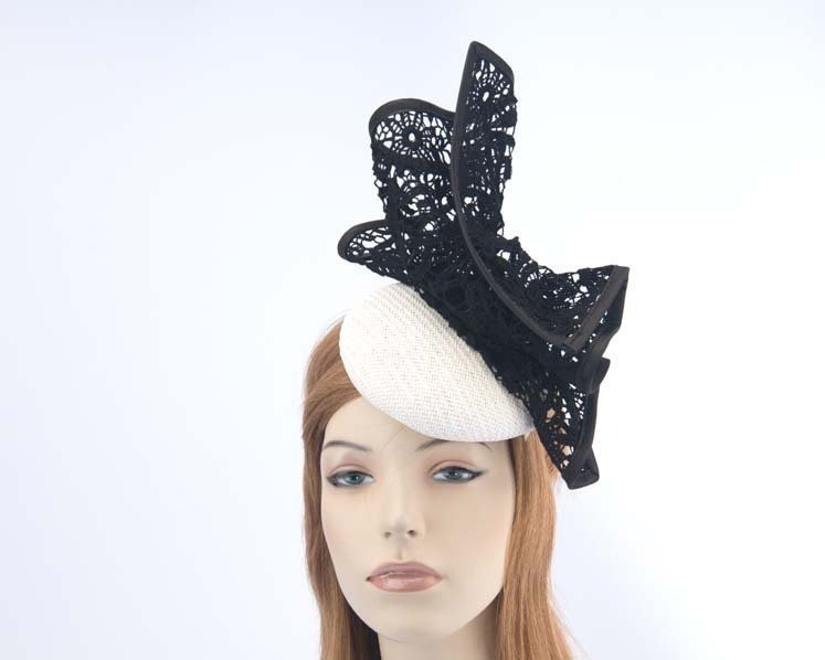 White & black pillbox with lace for Melbourne Cup races by Fillies Collection S166WB