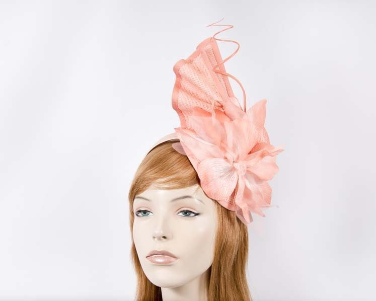 Bespoke coral fascinator with flower