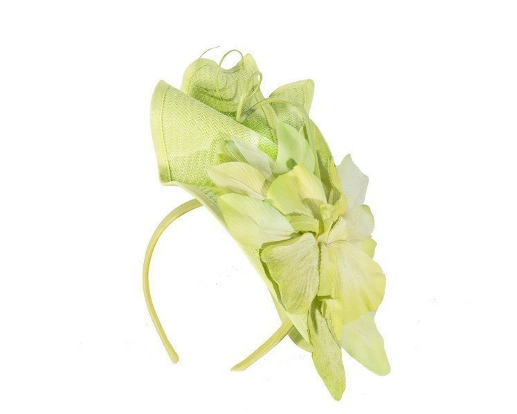 Bespoke lime green fascinator with flower