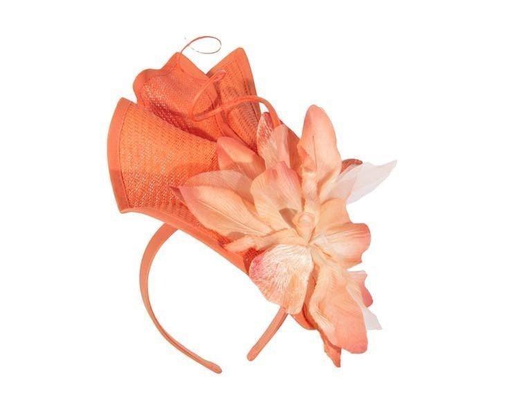 Bespoke orange fascinator with flower