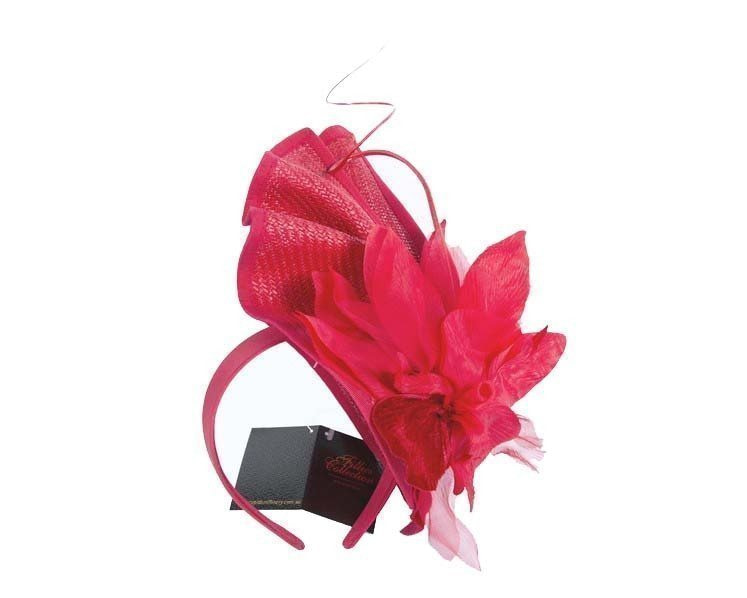 Bespoke red fascinator with flower