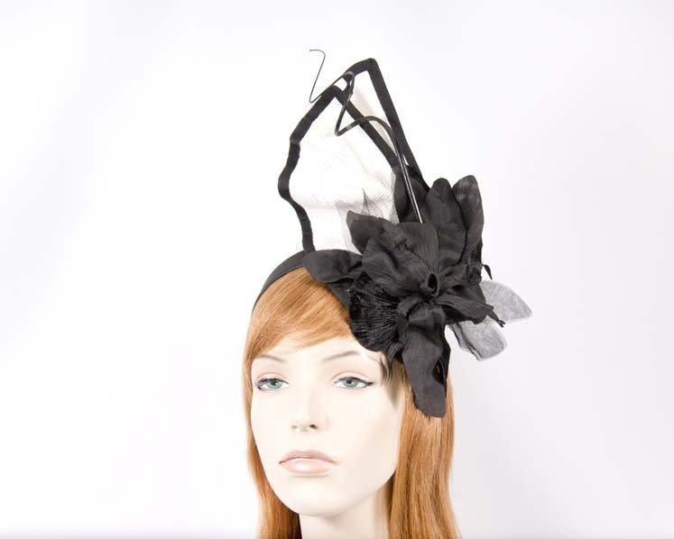 Bespoke white & black fascinator with flower
