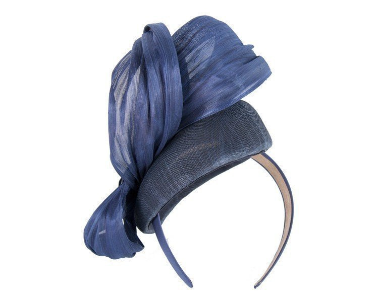 Navy pillbox fascinator with silk abaca bow by Fillies Collection