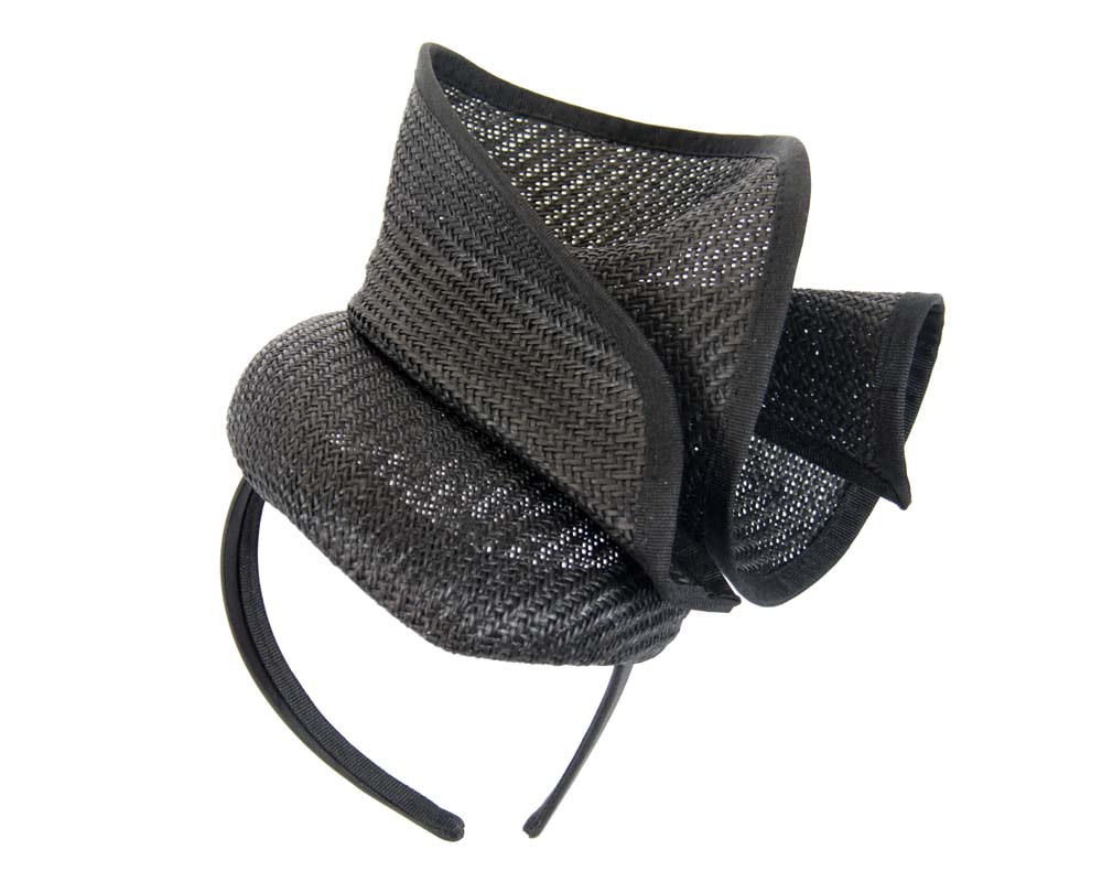 Black pillbox sculptured fascinator by Fillies Collection