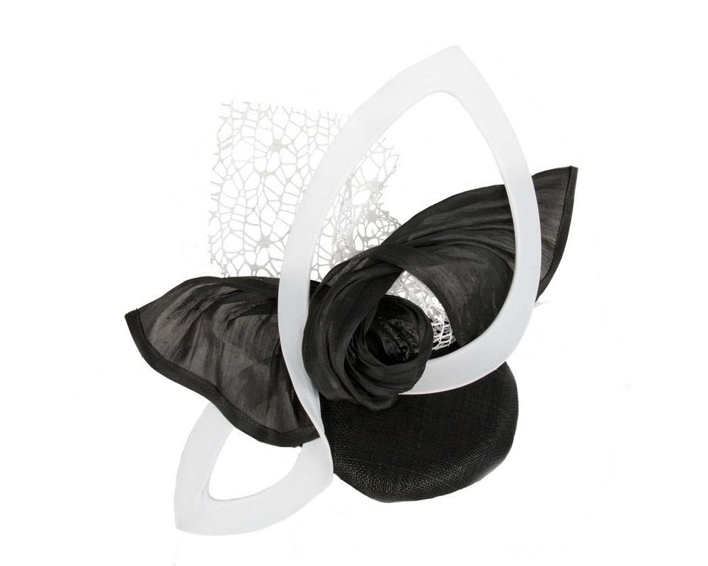 Bespoke sculptured black & white fascinator