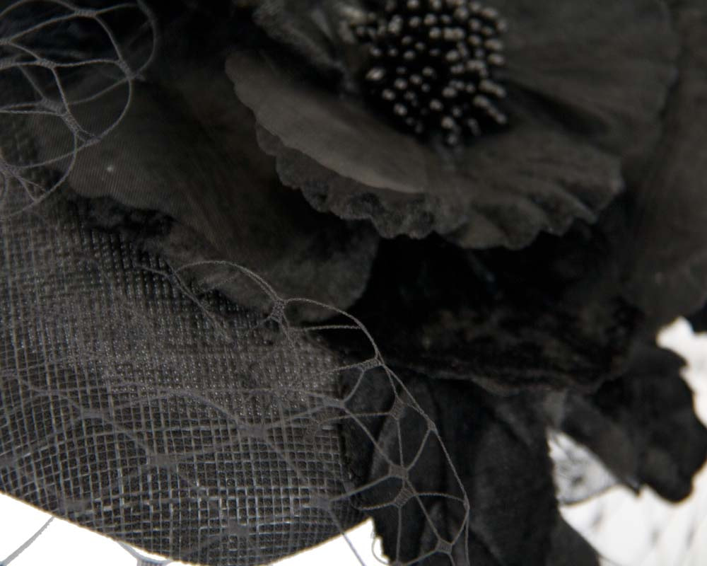 Black pillbox with flower & veil by Fillies Collection