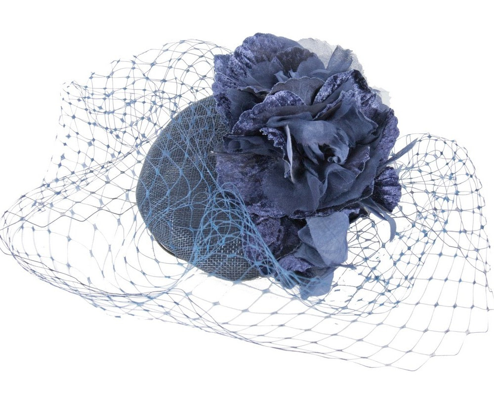 Navy pillbox with flower & veil by Fillies Collection